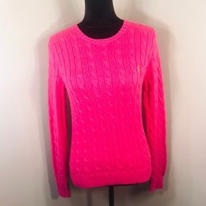 Ralph Lauren Cable Knit Hot Pink Sweater Size M